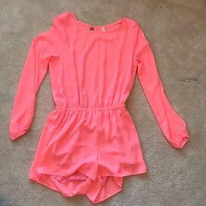 Neon pink romper